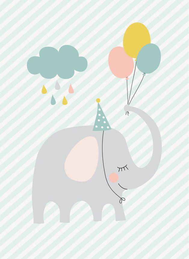 kunstdruck bild poster kleiner partyelefant pinterest fondos elefantes y cuadro. Black Bedroom Furniture Sets. Home Design Ideas