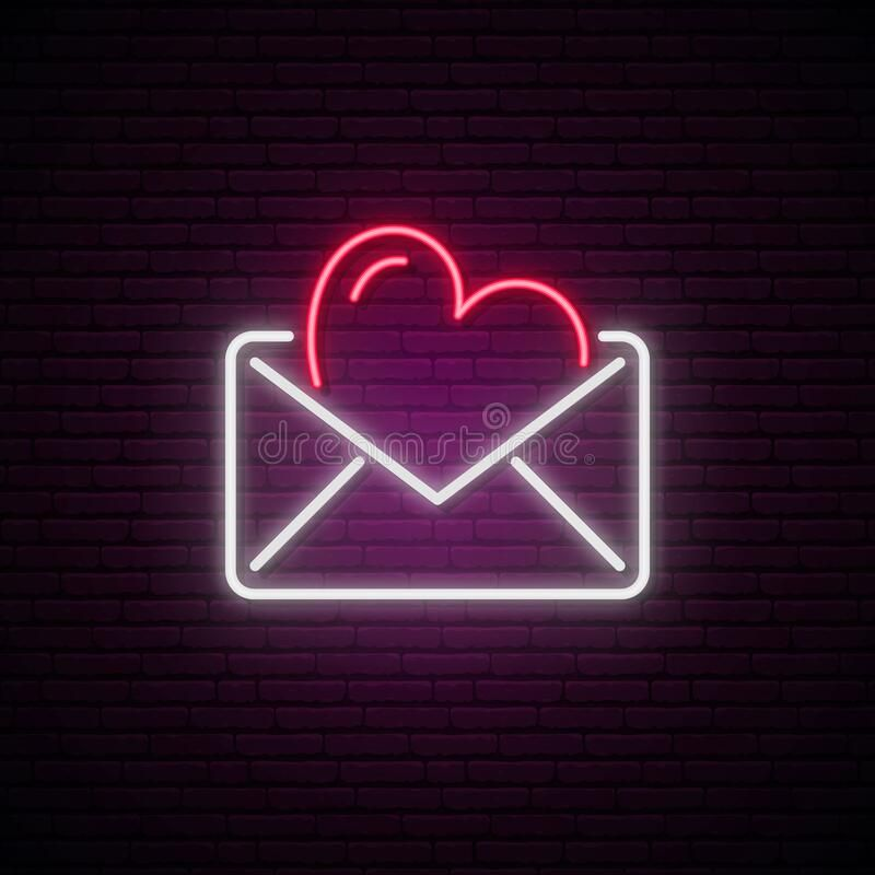 Glowing Neon Envelope With A Heart. Stock Vector - Illustration of envelope, gift: 169294192