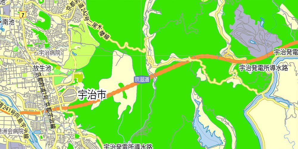 Kyoto, Japan, printable exact vector map GView level 13