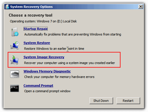 System Recovery Options System Restore Restoration Image Recovery