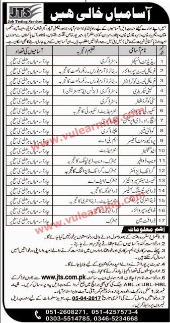Job Testing Service JTS all Over Pakistan 21-04-2017 Jobs - Job Test