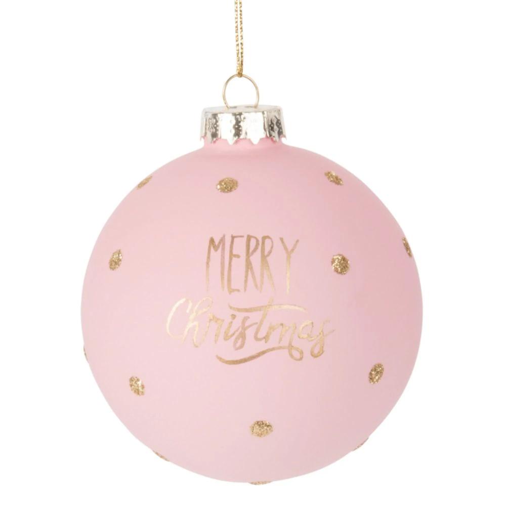 Weihnachtskugel aus Glas, rosa und goldfarben #bouledenoel