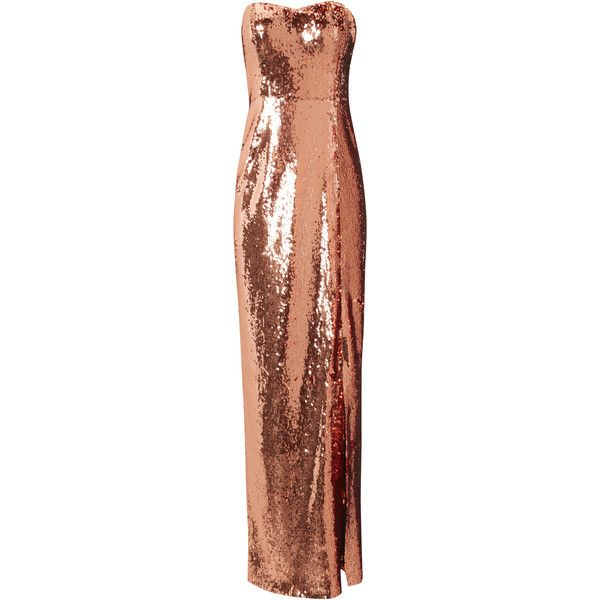 Jane Norman Rose Gold Sequin Bandeau Maxi Dress ($94) ❤ liked on ...