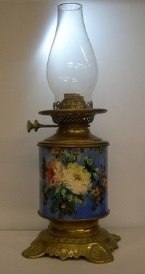 Wright Butler Antique Victorian English Brass Exeter Pottery Oil
