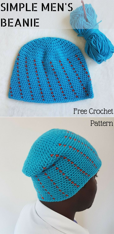 Simple Crochet Men S Beanie In Medium And Large Size Try It Crochet Crochet Patterns Mens Crochet Beanie