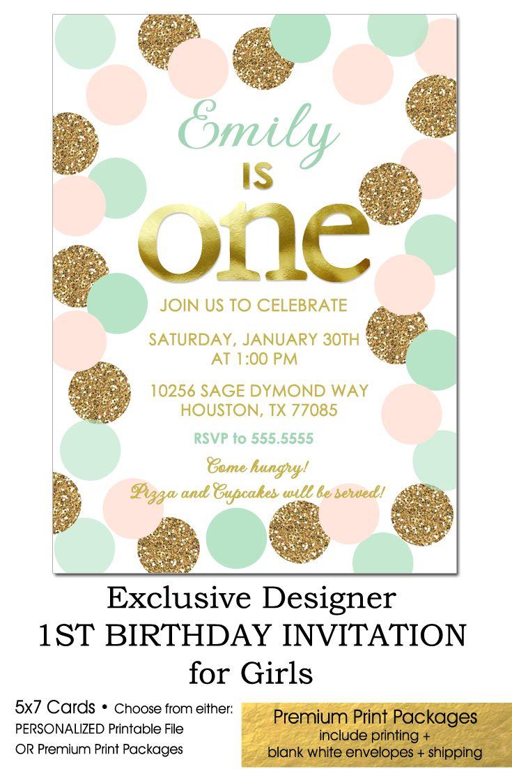 Blush Pink Mint and Gold Glitter 1st Birthday Invitation, Polka Dots ...