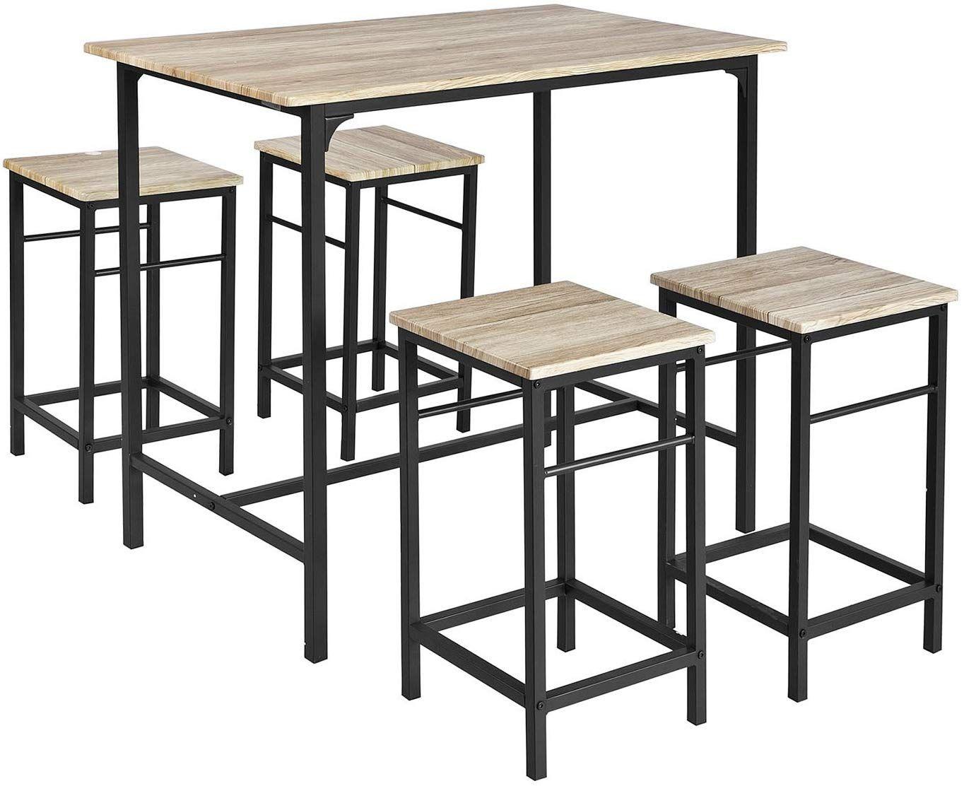Sobuy Ogt11 N Bar Set 1 Bar Table And 4 Stools Home Kitchen Breakfast Bar Set Furniture Dining Set Amaz Bar Set Furniture Bar Table Dining Table With Bench