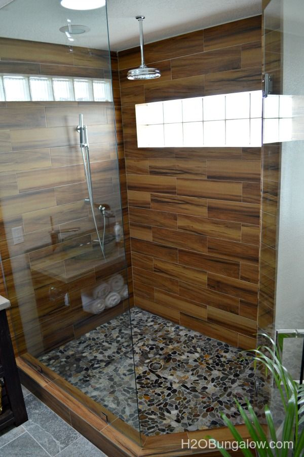 Contemporary Small Master Bath Renovation - Wood Plank Porcelain Tile Shower With Full Width Bench, 2