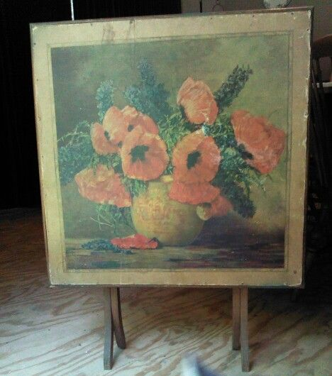I Love Poppies I Ve Found A Vintage Folding Card Table