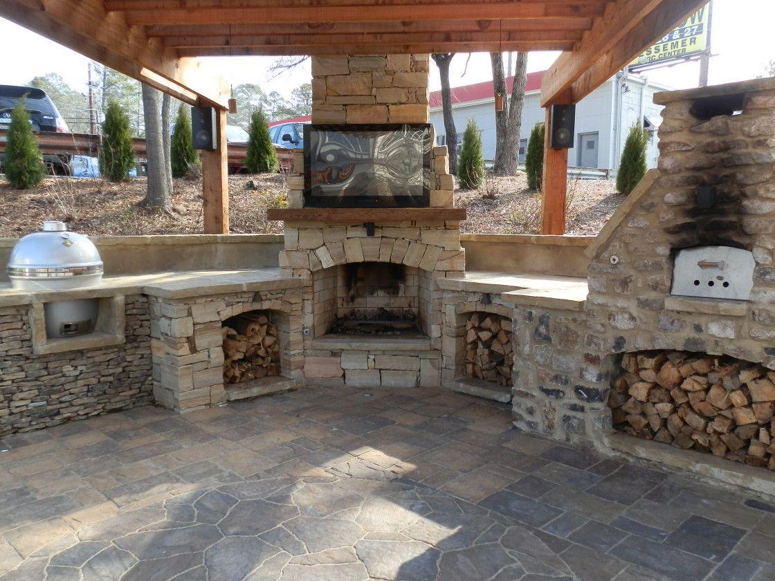 Wonderful Beige Wood Classic Design Kitchen Ideas Appliances Outdoor Wood Roof Wallmount Tv F Outdoor Fireplace Kits Outdoor Fireplace Plans Backyard Fireplace