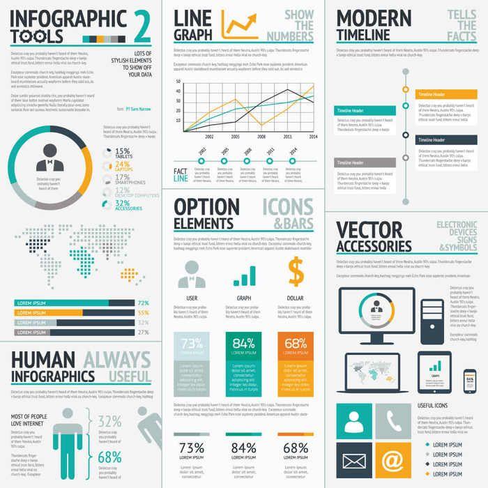 más de 1000 elementos gráficos en vectores para crear infografías