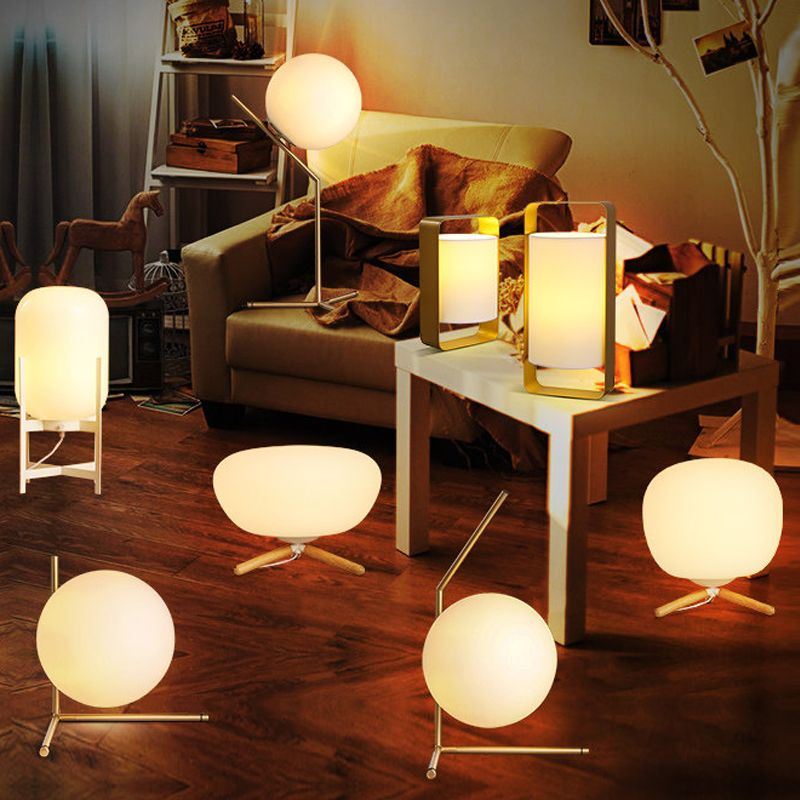 E14 Led Bulb Postmodern Ball Glass Lamp Nordic Simple Creative Fashion Personality Warm Bedroom Adornment Learning Bedside Lamp Aff Lamp Glass Lamp Simple Bed