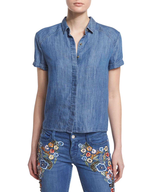 Koi Short-Sleeve Boxy Chambray Top, Blue, Size: SMALL - Alice   Olivia