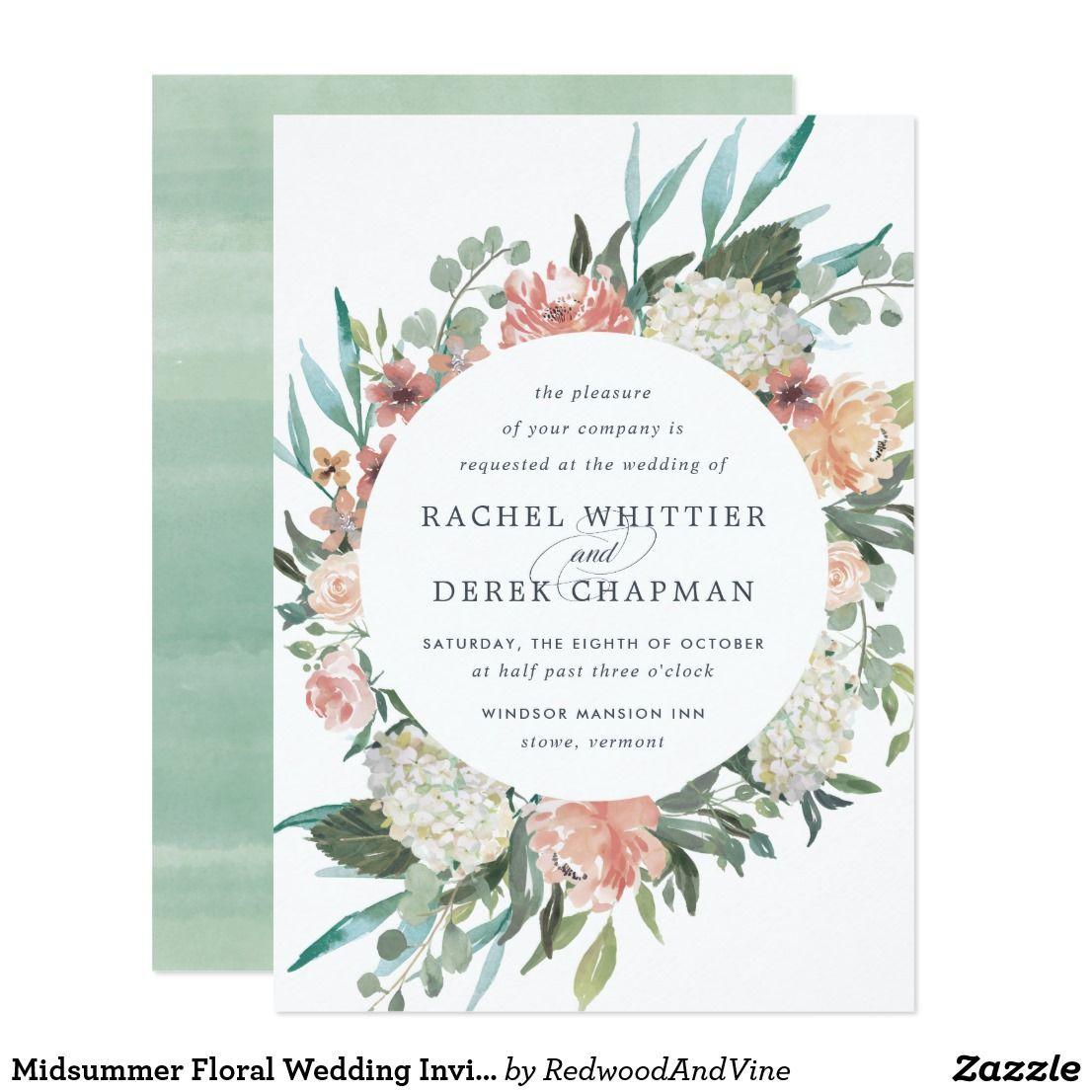 Midsummer Floral Wedding Invitation Elegant floral wedding ...