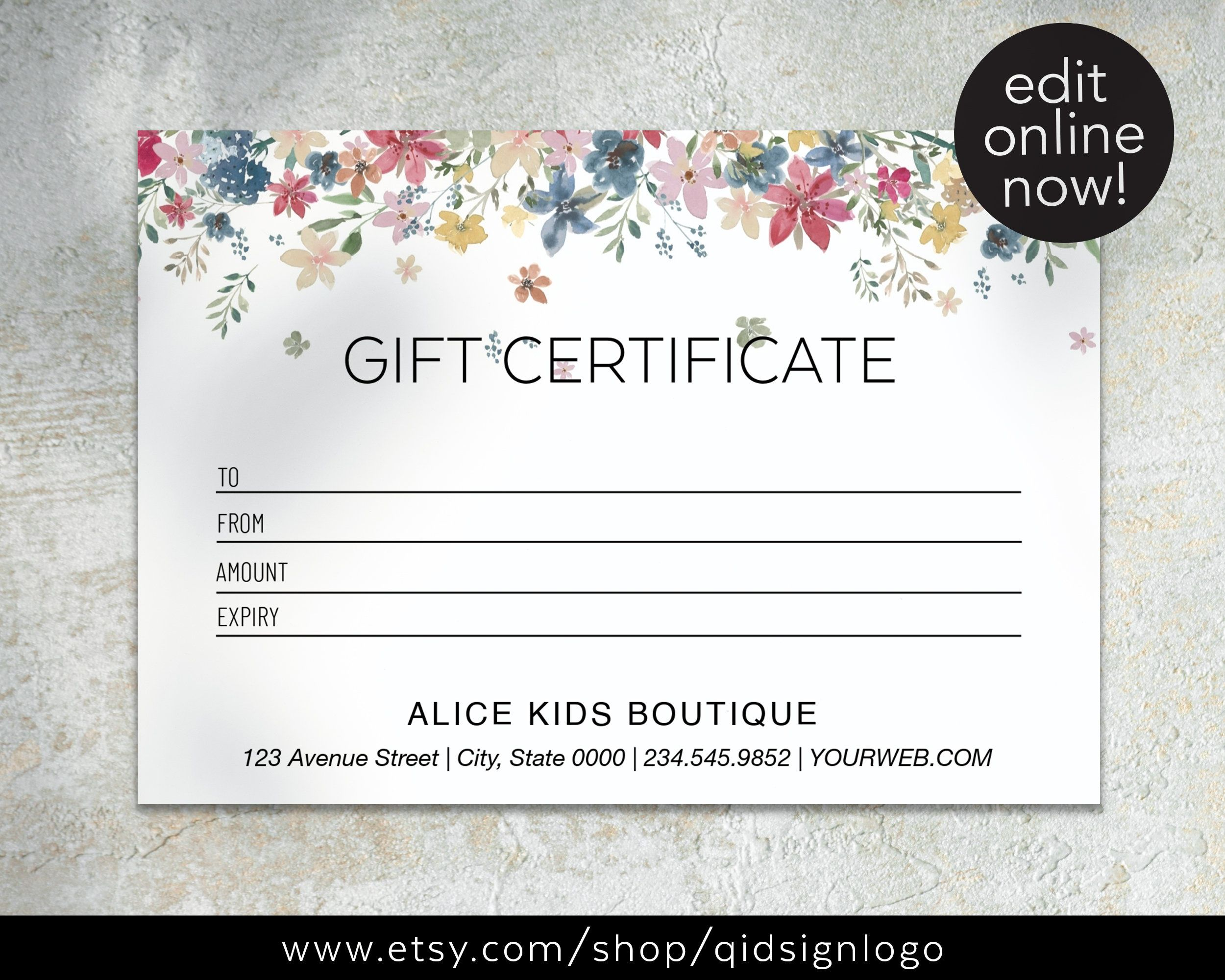 Gift Card Template Floral Editable Gift Card Kids Boutique Etsy