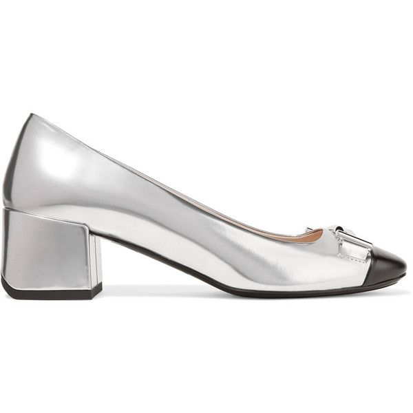 Tod's Two-tone leather pumps (645 CAD) ❤ liked on Polyvore featuring shoes, pumps, silver, mid heel pumps, leather slip-on shoes, leather shoes, block heel shoes and leather slip on shoes