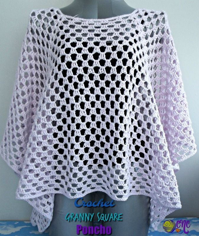 Crochet Granny Square Poncho ~ FREE Crochet Pattern #crochetclothes