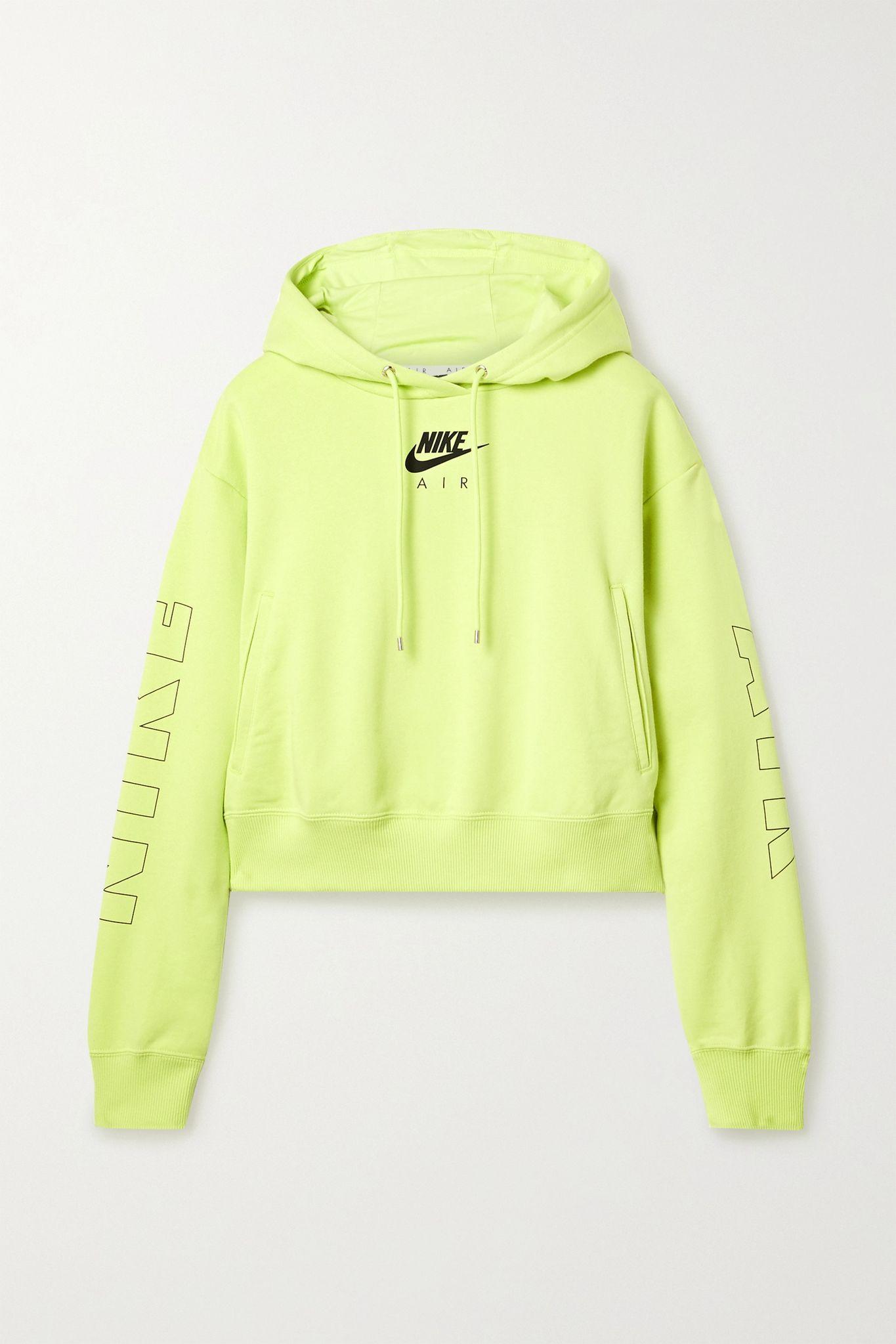 Yellow Air Neon Printed Cotton Blend Jersey Hoodie Nike Net A Porter Hoodies Neon Sweatshirts Trendy Hoodies [ 2047 x 1365 Pixel ]