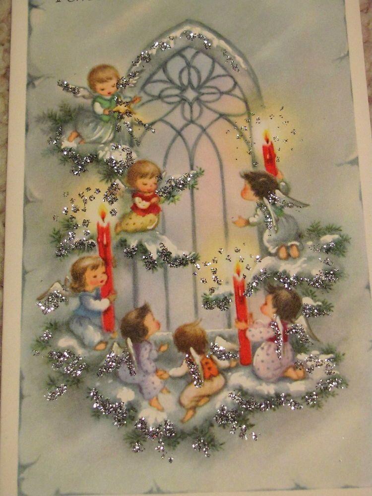Vintage Christmas Card Glittered Angels In A Pear Tree Unused+env