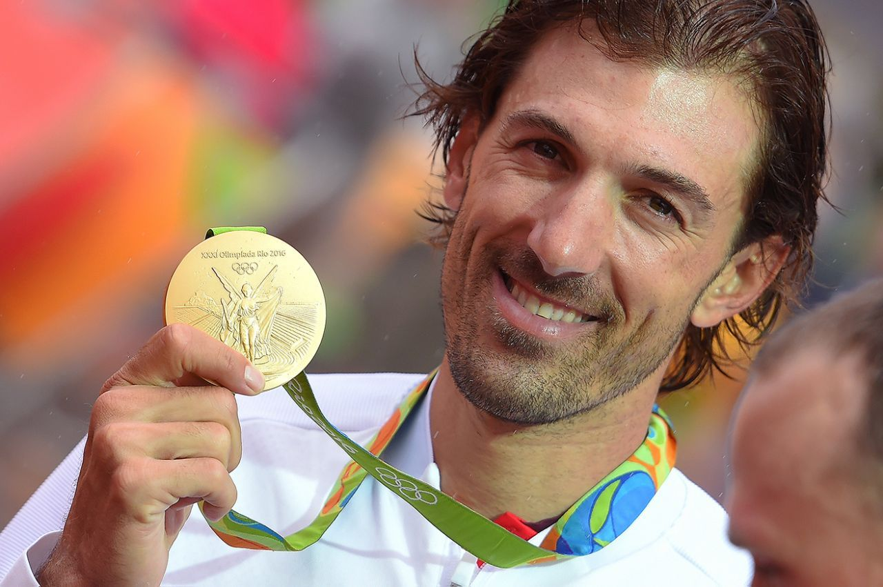 Cycling - Fabian Cancellara of Switzerland with his gold medal for men's individual time trial event at Rio 2016 Olympics on August 10, 2016.