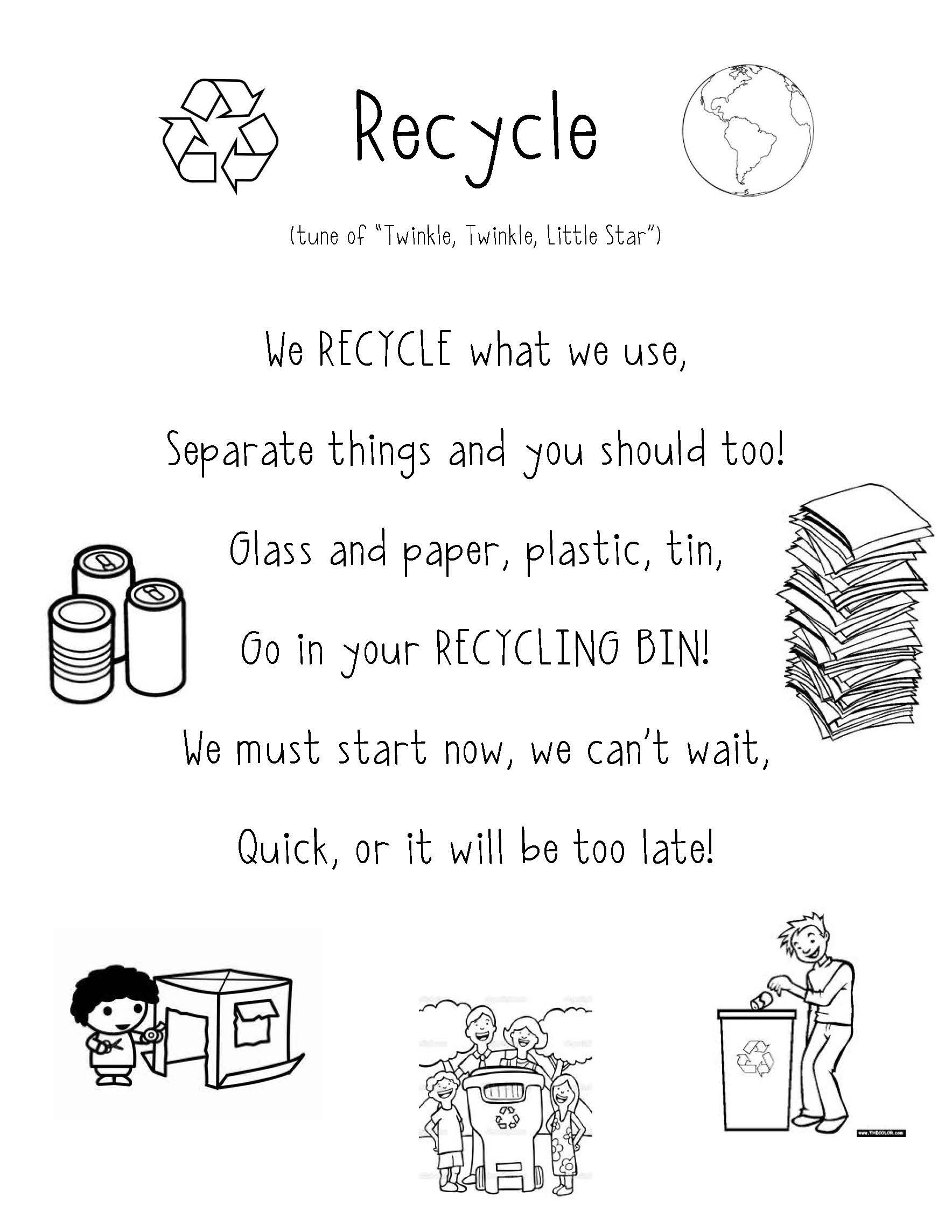 Recycle Poem Super Cute For Preschool And Teaching Students About Earth Day I Just Added A Nice