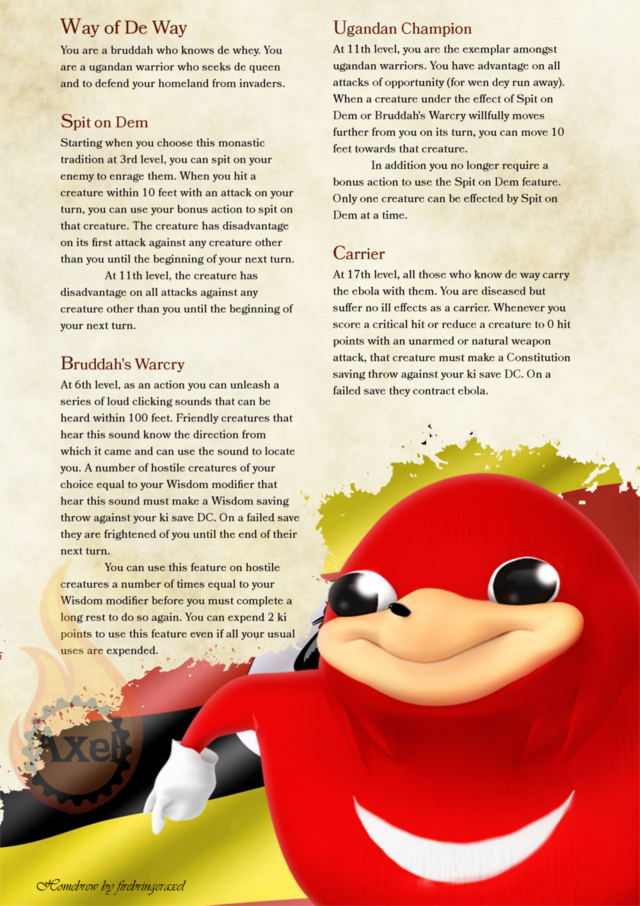 Ugandan Knuckles for D&D 5e by firebringeraxel The Ebola is