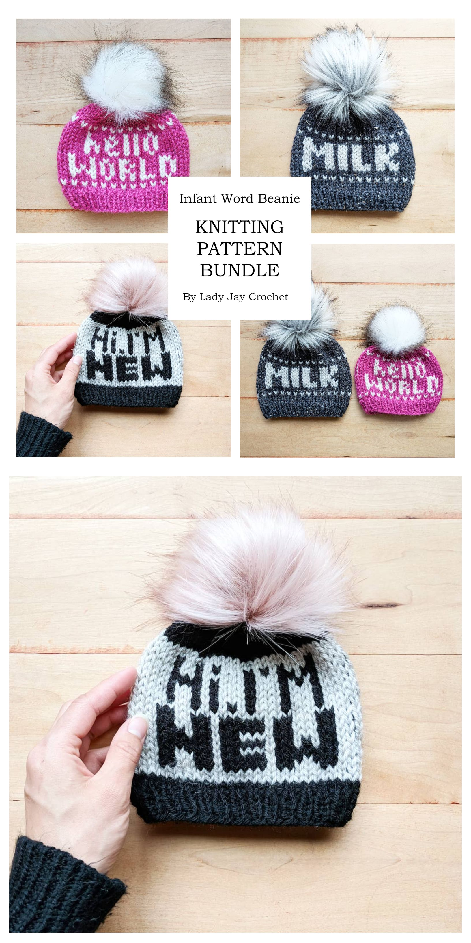 a21d3905 Hello World, Milk, and Hi, I'm New Baby Word Beanie Patterns by Lady ...