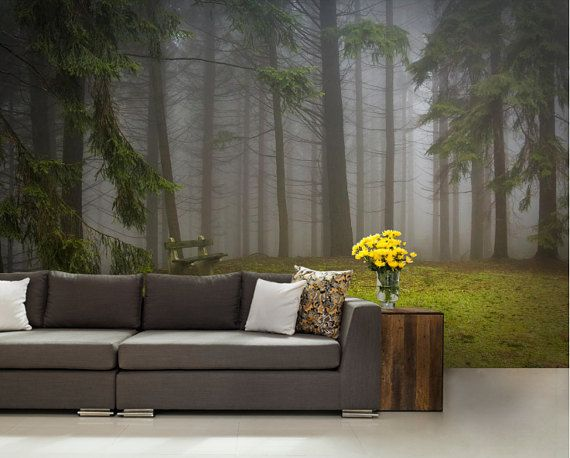 Foggy Forest Red Autumn Foliage 3D Full Wall Mural Photo Wallpaper Home Dec DIY