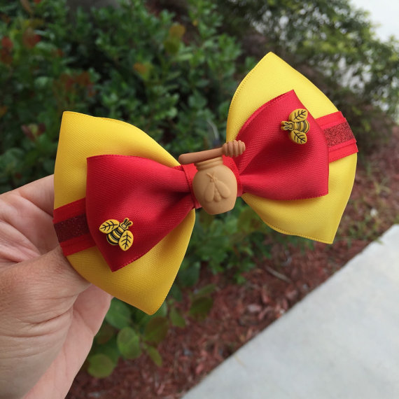 Winnie the pooh inspired hairbow disney bows disney hairbows