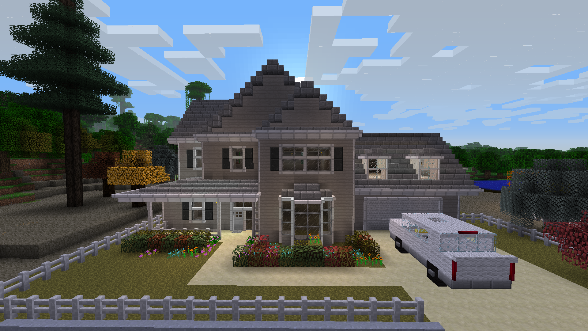 Epic minecraft house done in the style of a treehouse for Cool home designs
