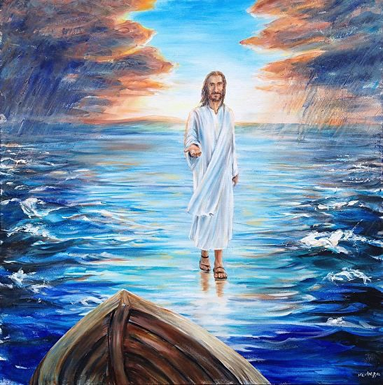 Walking On Water By Melani Pyke Jesus Walking On Water Inviting You To Believe And Step Out Of Your Boat Painte Painting Jesus Painting Jesus Walk On Water
