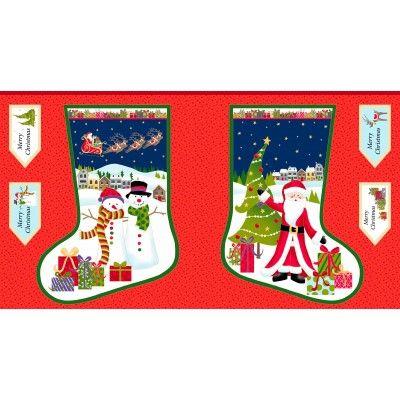 Christmas Stockings Fabric Panel