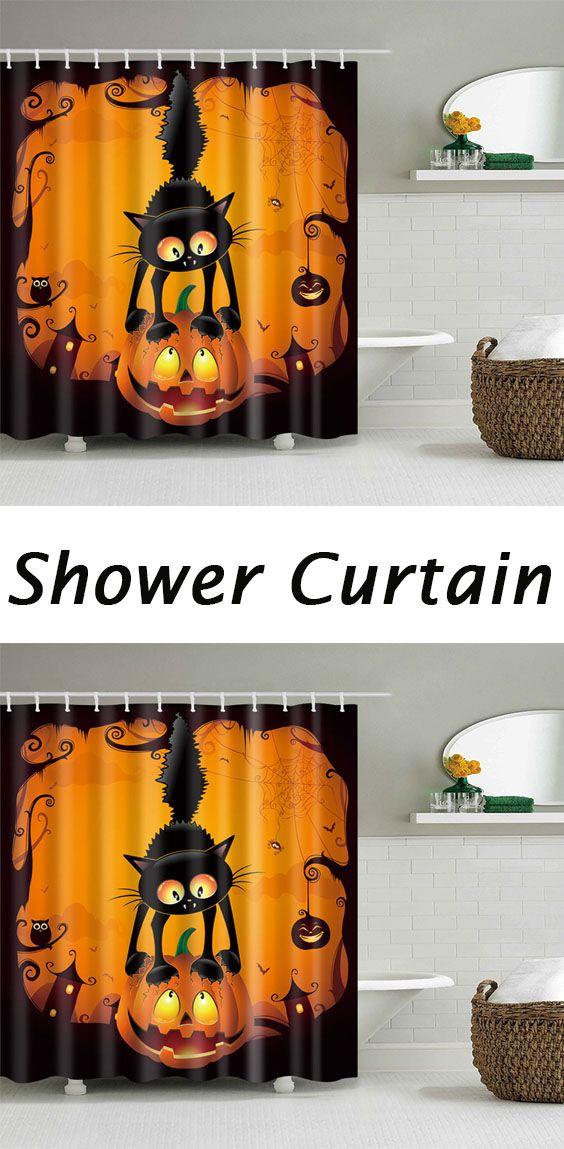Halloween Pumpkin Cat Print Waterproof Bathroom Shower Curtain Cat - decoration ideas for halloween party