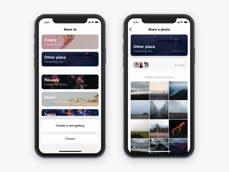 Share A Photo To Gallery iPhone X Ios app design, App