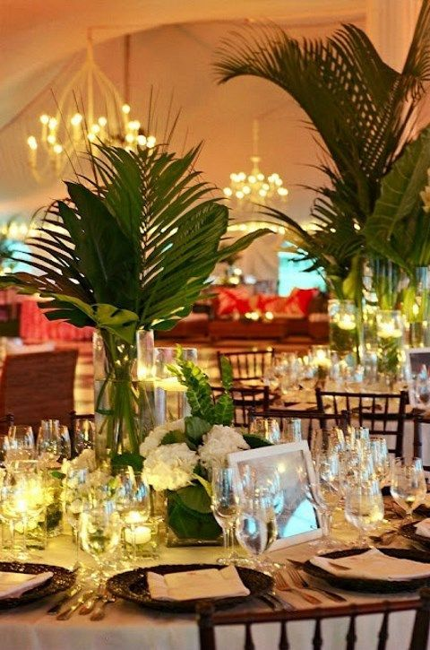 I would want it a bit taller so guests could see each other properly! 57 Cheerful Tropical Wedding Table Settings | HappyWedd.com & 57 Cheerful Tropical Wedding Table Settings | Wedding table settings ...