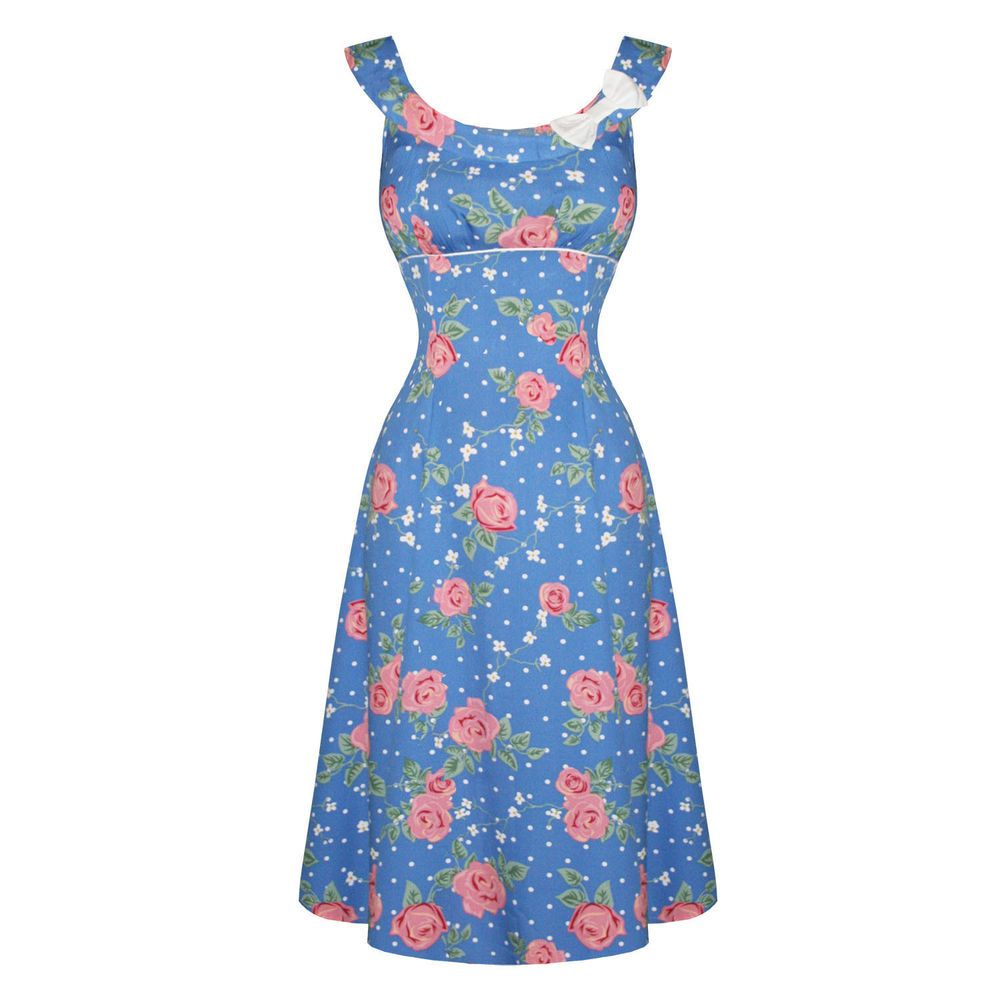 Hell Bunny Darlene Blue Pink Floral 1940s Wartime WW2 Style Summer ...