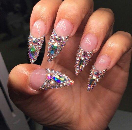 Stiletto Nails With Swarovski Crystals Blinged Bling Glam Rhinestone
