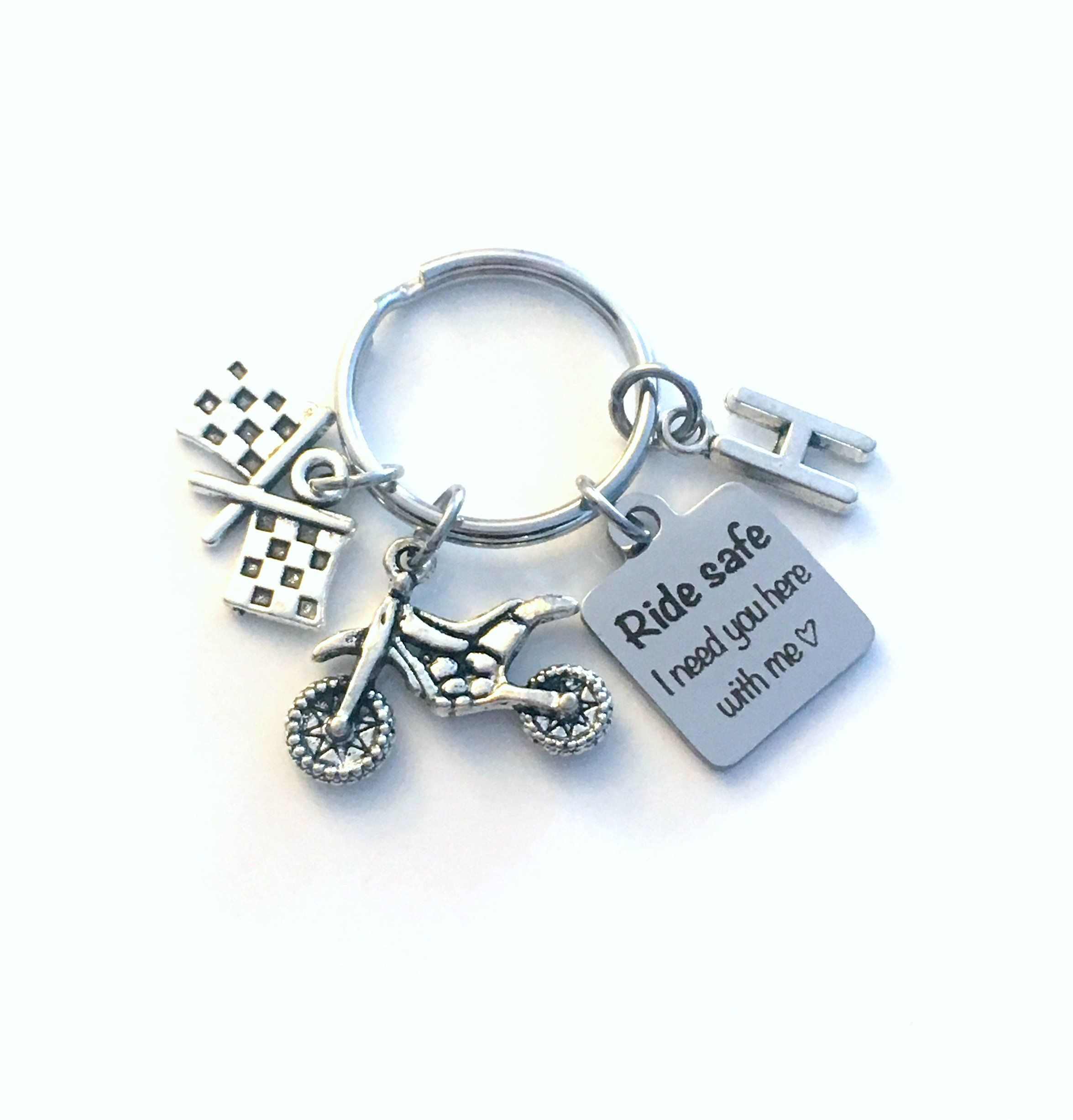 Ride Safe I Need You Here With Me Keychain Racing Key Chain For
