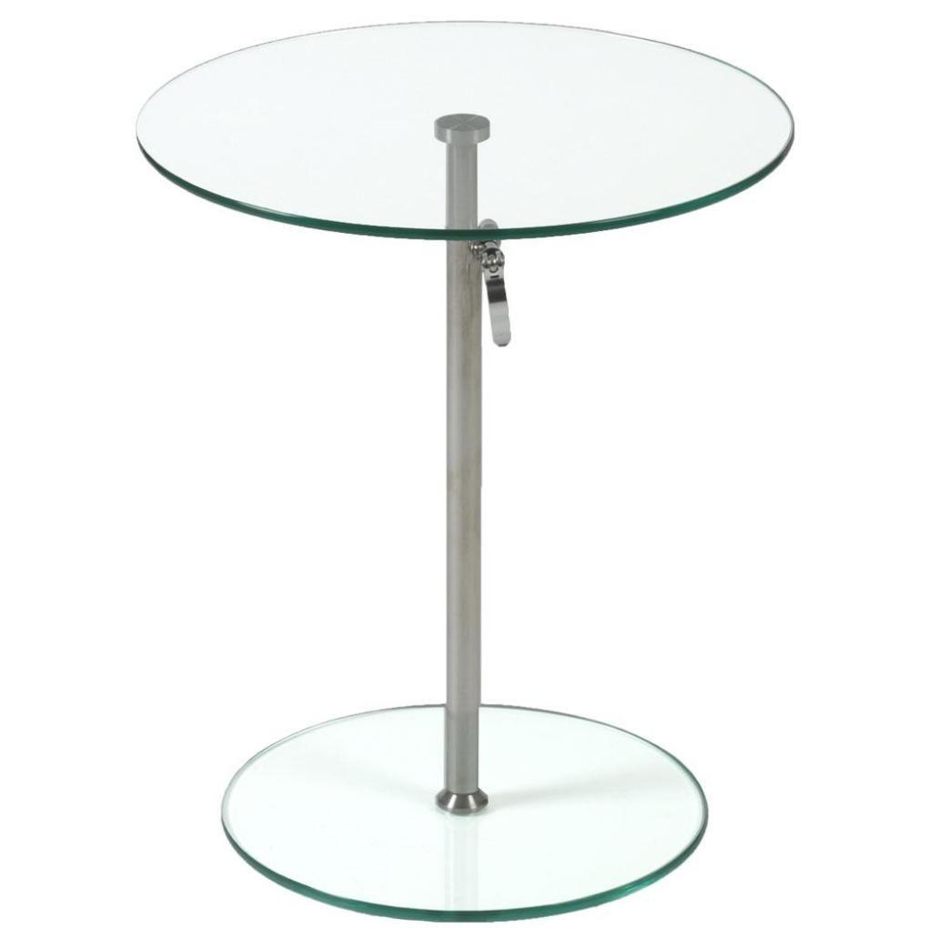 Beau Rafaella Round Glass Side Table Clear Chrome