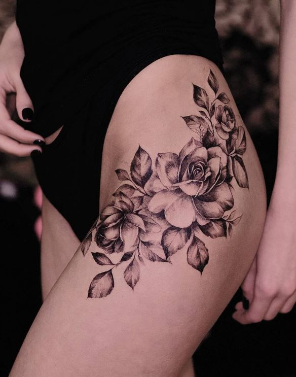 Black And Gray Roses Tattoo Flower Hip Tattoos Hip Tattoos