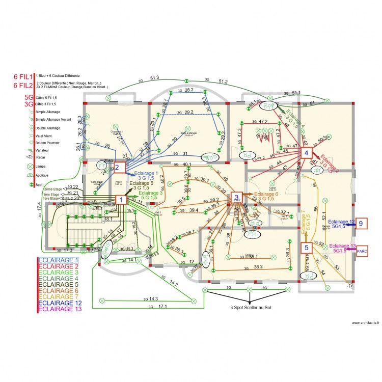 Plan Electrique Et Schema Electrique D Une Maison Avec Le Logiciel Archifacile Cablage Electrique Maison Plan Electrique Installation Electrique Maison