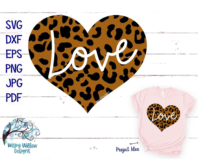 Leopard Love Heart SVG, Leopard Heart SVG, DXF, png, jpg