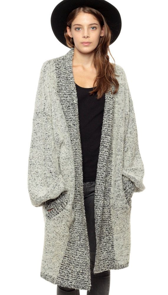 Wrap Cardigan Grey Long Oversize Chunky Sweater Drape by ShopExile
