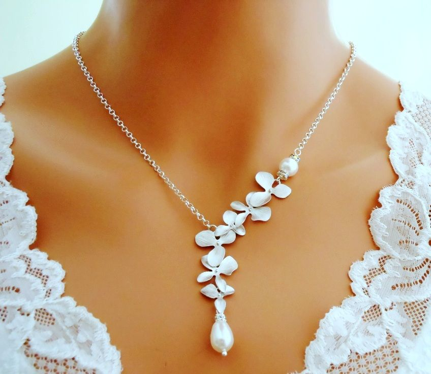 Orchid Pearl Necklace Sterling Silver Rhinestones Cz Wedding Jew 48 99