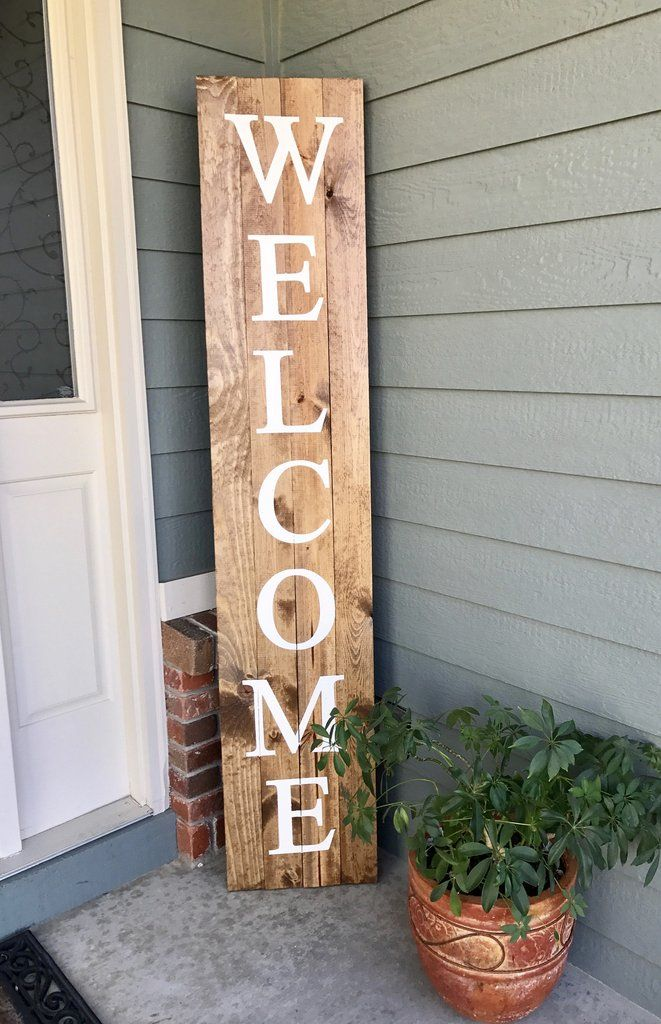 Welcome wood sign 6 39 tall wood signs porch and woods for Wooden front porch designs