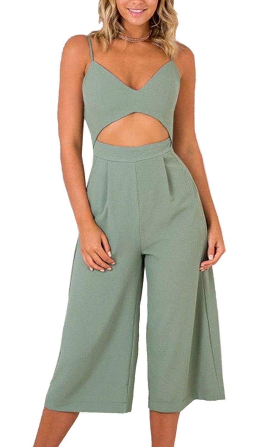 9457cd4deb9 Women s Jumpsuits-V Neck Adjustable Spaghetti Strap Wide Leg Romper Outfit  With Pockets - Grey Green - CT18D9AW3HC