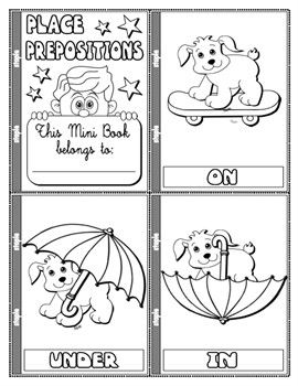place prepositions colouring mini book 11 pages step by step vocabulary fun games. Black Bedroom Furniture Sets. Home Design Ideas
