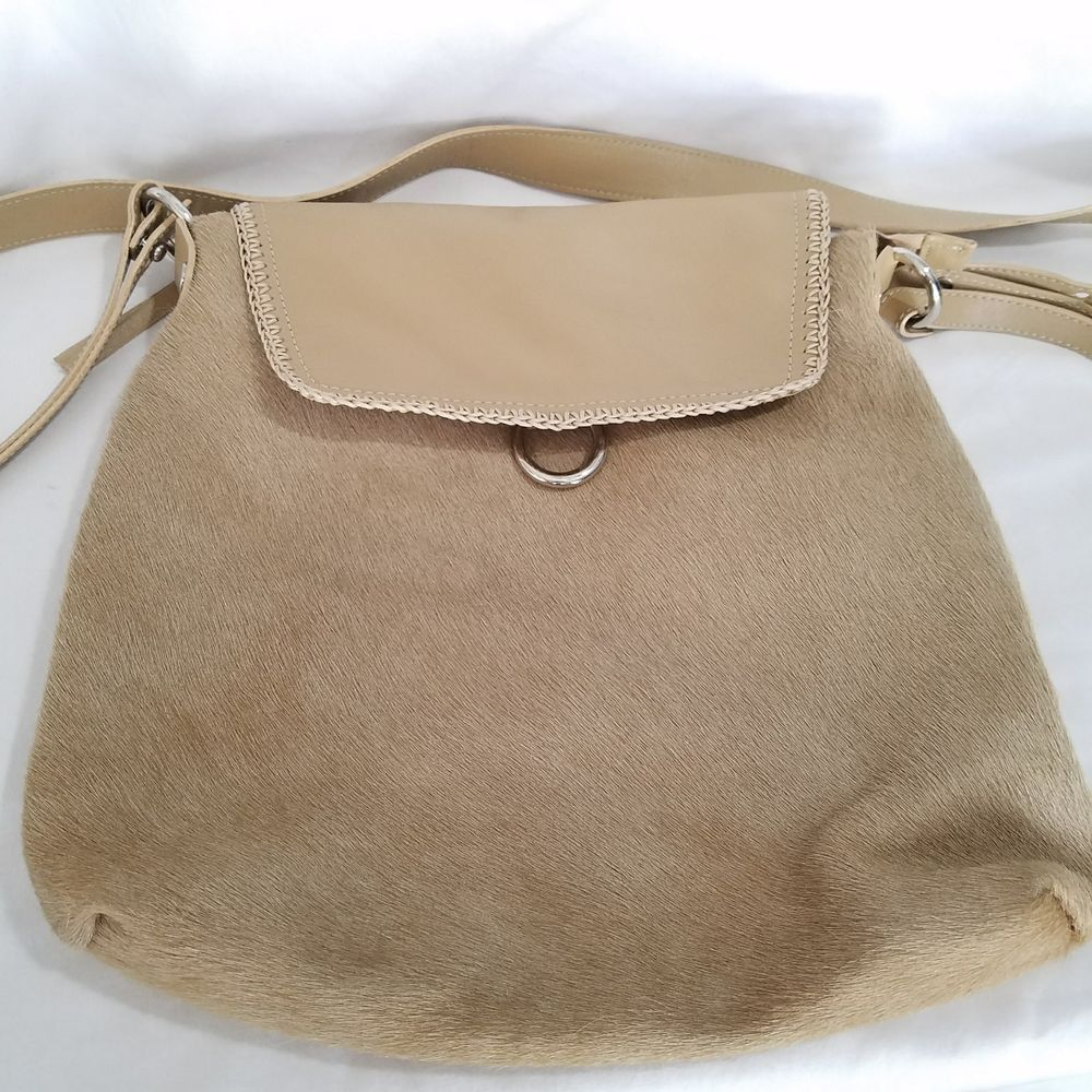 CAVALCANTI Pony Hair Leather Purse Made in Italy Tan Designer  CAVALCANTI   Bag 1337d1ce65c4a