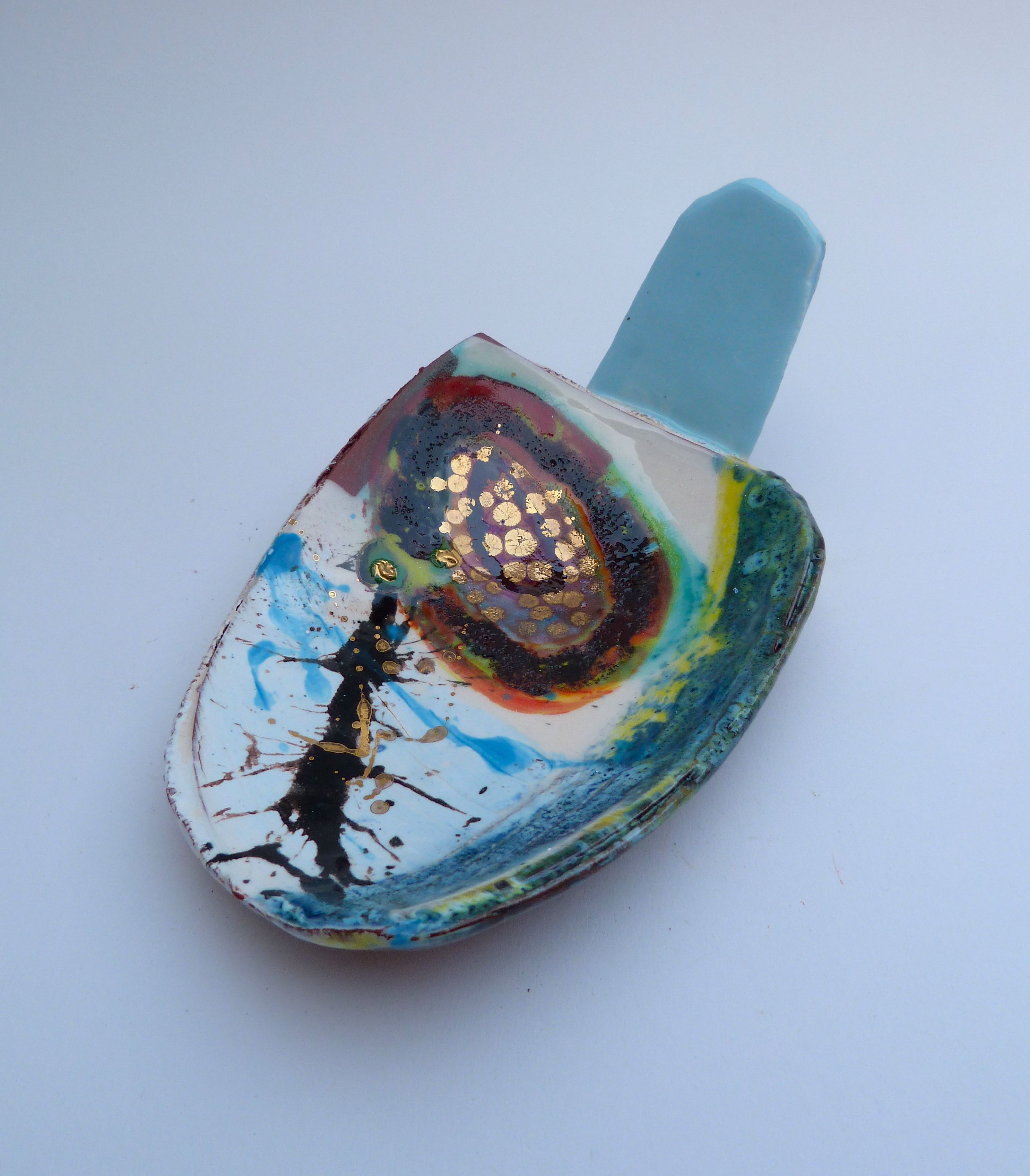 shallow bowl with baby blue handle © Linda Styles Ceramics 2014
