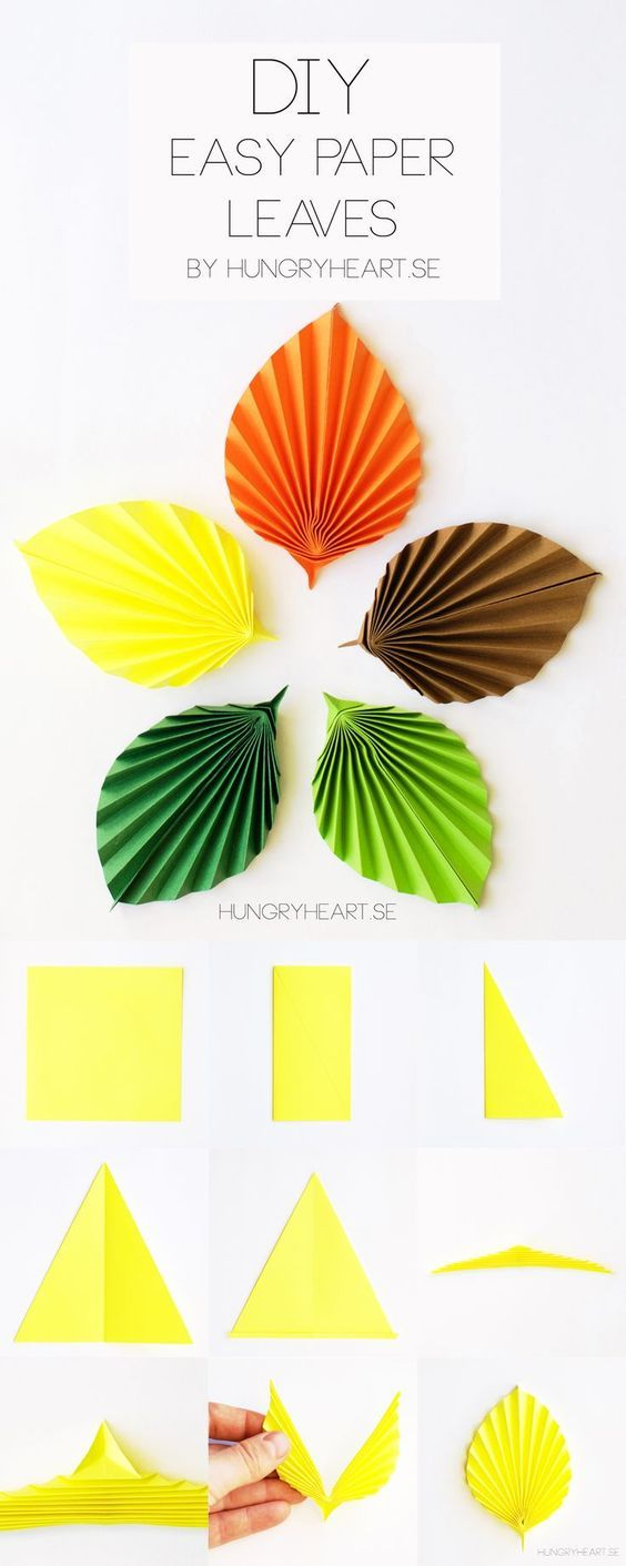 Diy Easy Paper Leaves Tutorial Hungry Heart Technika Pinterest